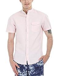 Zobello Men's Madarin Collar Linen Shirt(11087D_Light Rose Pink_Medium)