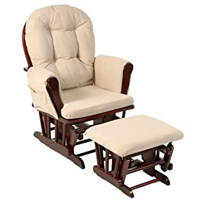 Stork Craft Hoop Glider and Ottoman Set, Cherry/Beige $129