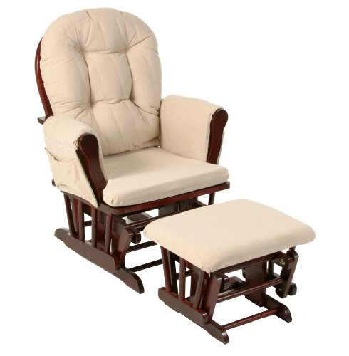 Stork Craft Hoop Glider and Ottoman Set, Cherry/Beige
