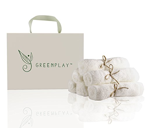6 Washcloths from Organic Bamboo by Greenplay. Free optional gift box. Soft, perfect baby shower gifts for newborn boys, girls, new mom, or anyone you want to pamper with luxury bath items! 10x10 inch