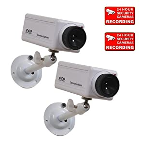 VideoSecu 2 Fake Security Cameras Simulated Home CCTV Dummy Surveillance with Flashing Red LED Light 1RL