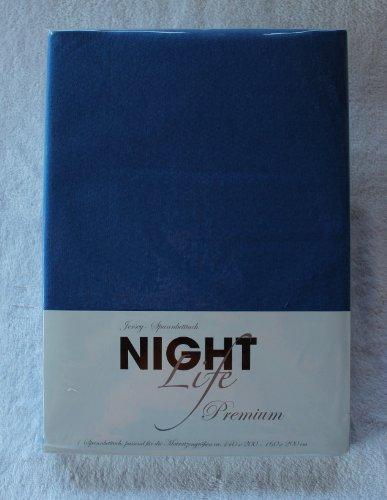 NightLife Jersey Spannbettlaken Farbe blau blue bleu Größe 180 x 190 bis 200 x 200 cm Spannbettuch Spannlaken mit Rundumgummi 100% Baumwolle