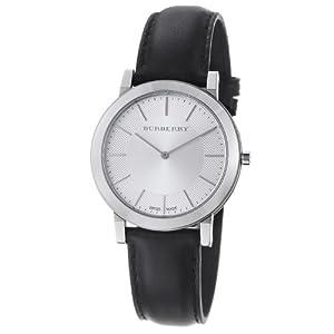 Burberry Men's BU2350 Slim Silver Dial Black Leather Strap Quartz Watch