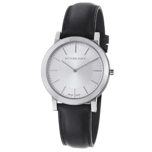 Burberry Men's BU2350 Slim Silver Dial Black Leather Strap Quartz Watch