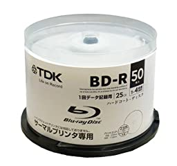 50 TDK Bluray Thermal Printable Blu-ray Discs 25GB BD-R 4X Speed
