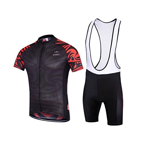 MYNEKO Mens Short Sleeve Cycling Jersey 3D Padded Bib Short Set 4e7d2b86b