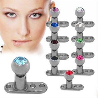 Grade 23 Titanium Dermal Anchor with Dermal Top - 3mm - 14G - Red - Sold Individually