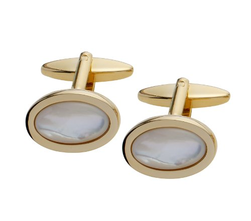 Code Red Gold Plated Mother of Pearl Oval Cufflinks