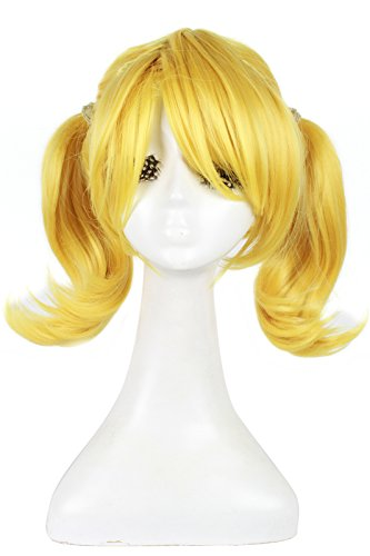L-email Womens Medium Length 2 Braids Cosplay Wig Yellow