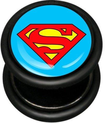 Pro-Piercing - Finto flesh plug, spessore 1,2 mm, in acciaio INOX PVD, motivo Superman, colore: Nero