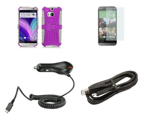 Htc One M8 - Purple / White Pathfinder Dual Hybrid Armor Case + Atom Led Keychain Light + Screen Protector + Micro Usb Cable + Car Charger