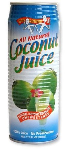 Amy & Brian Natural Coconut Juice Pulp Free, 17.5 Ounce Can (Pack of 12) by Amy & Brian