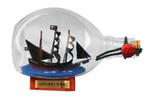 Handcrafted Nautical Decor Blackbeard's Queen Anne's Revenge Pirate Ship in a Bottle