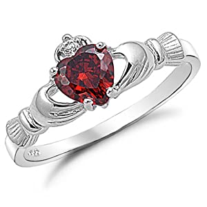 Sterling Silver Simulated Red Garnet Claddagh Ring Size 3
