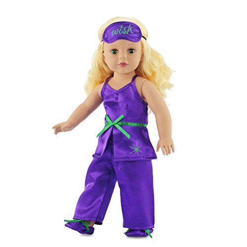 "Fits American Girl 18"" Purple Pajamas, Slippers, Eye Mask - 18 Inch Doll Clothes/clothing"