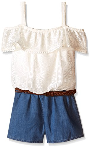 My Michelle Big Girls Romper with Denim Like Shorts and Ruffle Off The Shoulder Top, Ivory/Ivory, Large