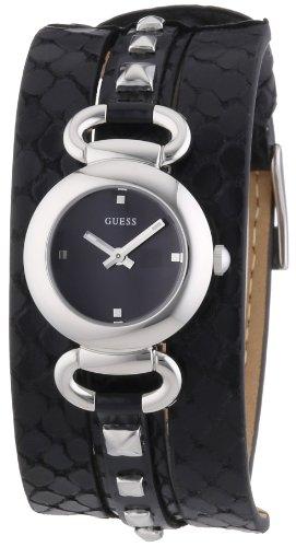 Guess W0160L2 - Reloj analógico de cuarzo para mujer con correa de piel, color negro