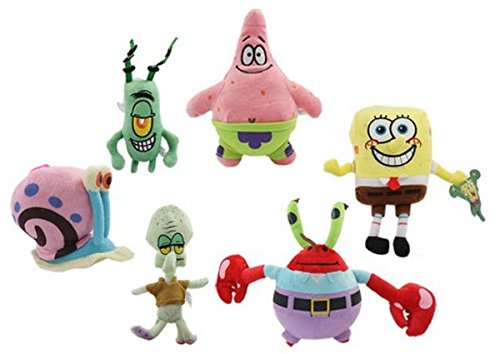 6PCS Spongebob Set Stuffed Plush SpongeBob/Patrick/Crab/Plankton/Octopus/Snail Dolls Kids Toys Best For Children