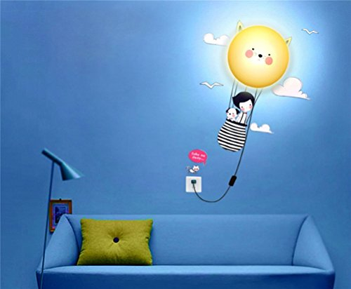 Fashion&Online New Fashion DIY 3D Wallpaper And Wall Decoration Design Lampshade Warm White Light Novelty Cartoon Wall Stickers Home Room Decor Decoration LED Night Light Lamp for Kids' Bedroom (Cat's Journey)
