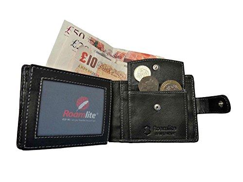 Portafoglio da uomo in vera pelle, per le monete Roamlite RL507 6 carte di credito, Black No Gift Box (Nero) - RL507K
