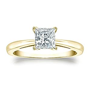 Jewel Oak 3/4 ct. tw. IGI Certified Princess-cut Diamond Solitaire Ring in 14k Yellow Gold (H-I, I1-I2), Size 4.5