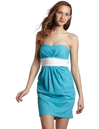 My Michelle Juniors Solid Strapless Dress, Blue, 3 at Amazon Women's
