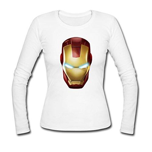 Women Iron Man Mask Long Sleeve Tees Shirts Tshirt Small White