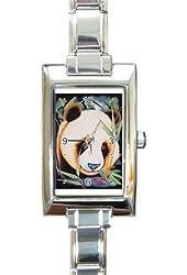 Beautiful Panda Bear Rectangular Italian Charm Watch with Stainless Steel 16 Link Wrist Strap