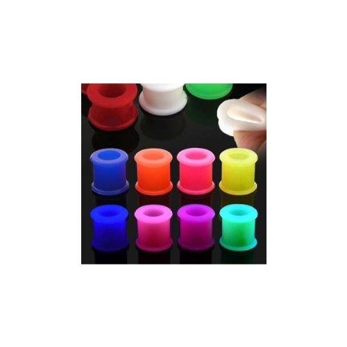 Urban Body Jewellery Pack of 8 Flexible Silicone Ear Stretching Flared Flesh Tunnels-12mm