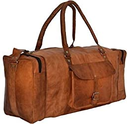 INDIARTVILLA Leather Duffel Bag for Men and Women Overgnight Duffel Bags Weekend Diaper Travel Luggage Gym Tote Bag Tan