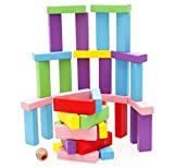 Lewo Classic Colorful Wooden Tumbling Tower Blocks Drinking Game - 48 pieces