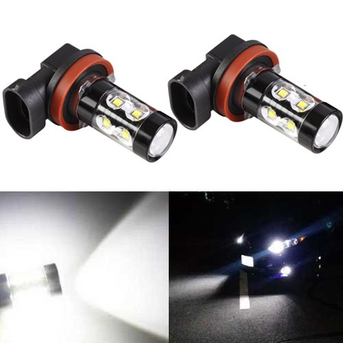 JDM ASTAR Extremely Bright All Size Max 50W High Power LED Bulbs for DRL or Fog Lights, Xenon White (H11) (2012 Toyota 4runner Fog Lights compare prices)