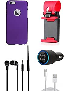 NIROSHA Cover Case Car Charger Headphone USB Cable Mobile Holder for Apple iPhone 6Plus - Combo
