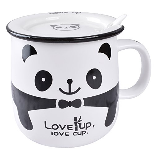 BUYNEED Lovely Cute Cartoon Animal Panda Office Tea Coffee Milk Porcelain Ceramic Mug Cup with Lid and Spoon Christmas Birthday -11Oz Best Gift-Awesome