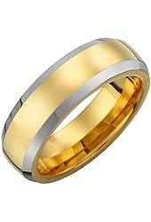 Unique 7mm Tungsten Mens Ring Wedding Engagement Band 2 Tone (Rose Gold & Titanium)