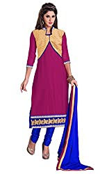 Manvaa Women's Dark Pink & Blue Embroidered Chudidar Dress Material