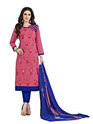 MS trends Women's Cotton Unstitched Dress Material(Aashiqui gold 61020_Pink_Free Size)
