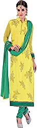 Go Traditional Women's Georgette Unstitched Dress Material (Yellow)