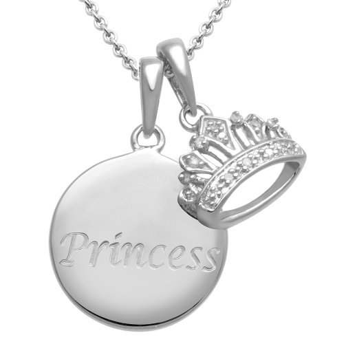 Sterling Silver Diamond Crown Pendant Necklace with Engraved Princess (0.03 cttw, I-J Color, I3 Clarity), 18