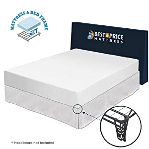 "Best Price Mattress - Queen size - 10"" memory foam mattress + Bed Frame (box spring) set - queen size - No box spring needed"