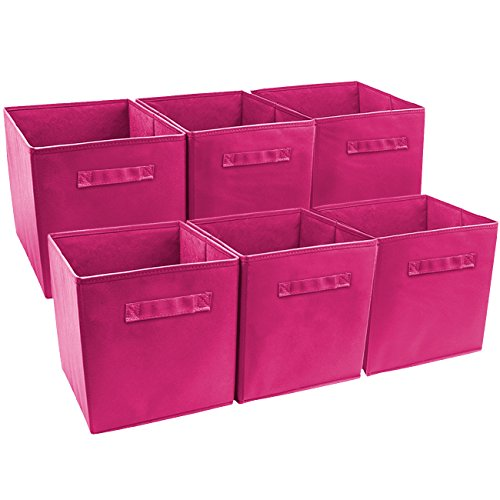 Sorbus® Foldable Storage Cube Basket Bin (6 Pack, Pink) (Pink Storage compare prices)