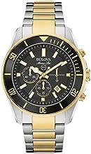 Comprar Bulova Marine Estrella hombre reloj de cuarzo con cronógrafo negro y dos tonos pulsera Bañado En Oro Rosa De Acero Inoxidable 98b249