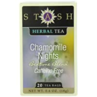 Stash Tea Chamomile Nights Herbal Tea, 20 Count Tea Bags in Foil (Pack of 6)