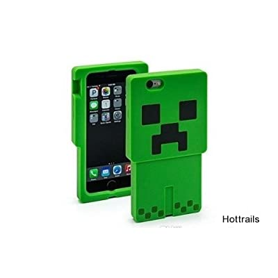 Minecraft Creeper Character Green 3D iphone 5 and 5s Case Silicone Games Toys