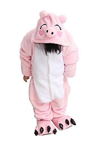 "Tonwhar Children'S Halloween Costumes Kids Kigurumi Onesie Animal Cosplay (95(Height:41.3""-45.27""), Pink Pig) front-874092"