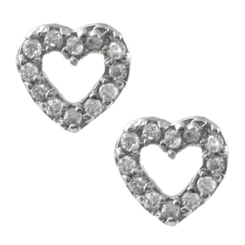 Sterling Silver Pave Heart Earrings