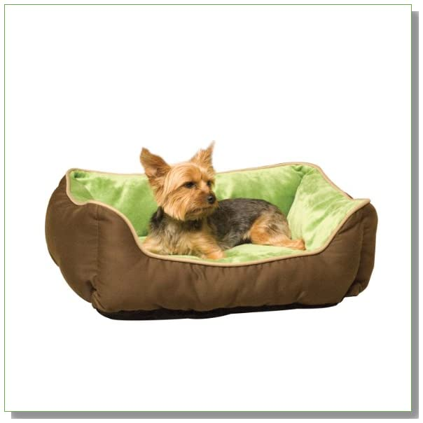 K&H Lounge Sleeper Self-warming Pet Bed, 16-Inch by 20-Inch, Mocha/Green