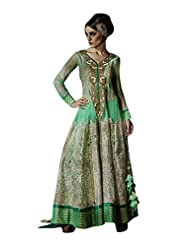 Vimlon Women's Readymade Indian Ethnic Sea Green Anarkali Dress