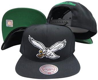 Philadelphia Eagles Solid Black Plastic Snapback Adjustable Plastic Snap Hat Cap by Mitchell & Ness