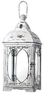 Sterling 51-10022 Glass/Metal Restoration Hurricane Candle Lantern, 22-Inch, Weathered White